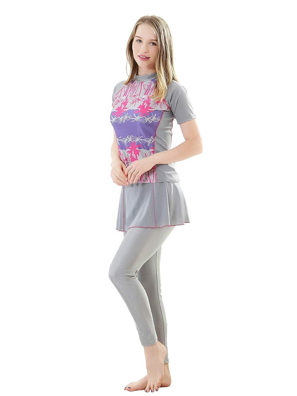 f408de32704 Fortuning s JDS Islamic Short Sleeve Tops Pants Swimsuit Sets Fashion Women  Burkini  Amazon.co.uk  Clothing