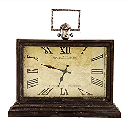 20.5 Inch Wood and Metal Rectangular Table Clock
