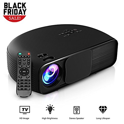 GBTIGER 4000 Lumens Portable Home Projector 1280 x 800 Pixels Support Full 1080P Multimedia LCD Projector with VGA HDMI USB AV DC Port for Home Theater Cinema Moive Video Paties Games, Black by GBTIGER