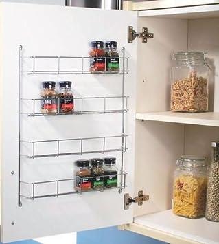 Gewürzregal für den Küchenschrank, 4 Etagen, verchromt: Amazon.de ...