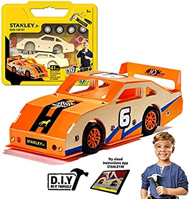 Stanley Jr Custom Racer Wood Racecar Kit Easy to Assemble Race Car Building Set DIY Race Car Kits for Kids Wooden Race Car Crafts Paint /& Decals Included