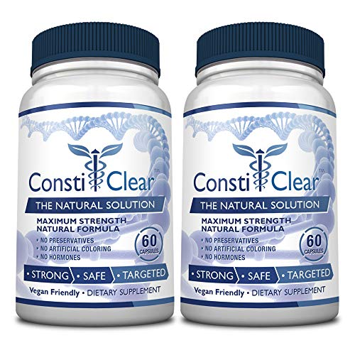 ConstiClear - #1 100% Natural Constipation Relief Supplement - Treats the Underlying Causes of Constipation & Supports Healthy Gut Flora for Long-Term Prevention - 100% Money Back - 2 Bottles Supply (Best Immediate Constipation Relief)