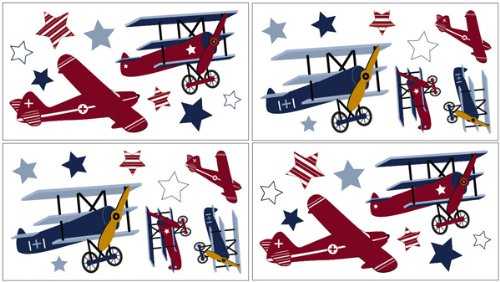 Aviator Wall Decal Stickers by Sweet Jojo Designs - Set of 4 Sheets