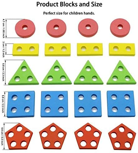 Seafar Shape Sorter Toy Sorting Toddlers Count Blocks Sort Shapes Match Colors 1 2 3 Years Old Natural Set.