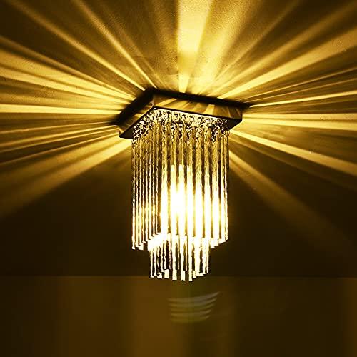 HONGMAO Luxury Square Lamp Modern Mini Chandelier Lighting Flush Mount Ceiling Light Square Chandelier Lamp Fixture Light for Hallway Passway Bedroom Living Room Dining Room(L4.72