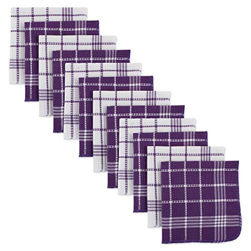Cotton Waffle Checkered Terry Dish Cloths, 13x13