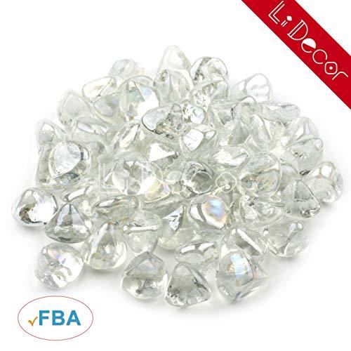 Li Decor 20Pounds Fire Glass Gas Fire Pit Glass Fireglass Outdoors Indoors 1 Inch Crystal Luster Transparent (Diamond Glass Fireplace)