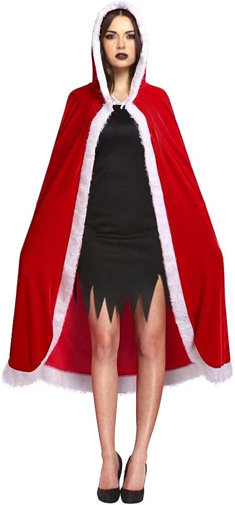 MIGOHI Women Christmas Santa Costume Hooded Cloak Velvet Mrs Claus Cape Robe