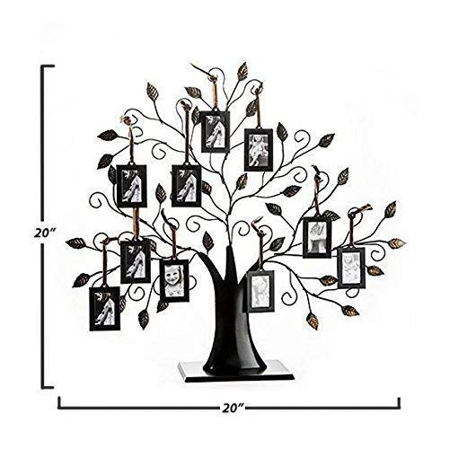 Klikel Family Tree Picture Frame Display with 10 Hanging Picture Photo Frames | Large 20 x 18 Metal Tree | 10 Ornamental 2x3 Frames by Klikel (Image #1)