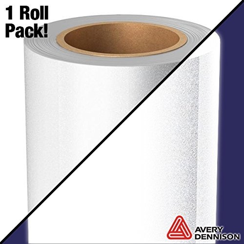 Avery White Silver Reflective Industrial Grade Craft Vinyl 12 Inch by 24 Inch Roll for Cricut, Silhouette & Cameo Machines (12 Inches x 24 Inches 1-Roll Pack)