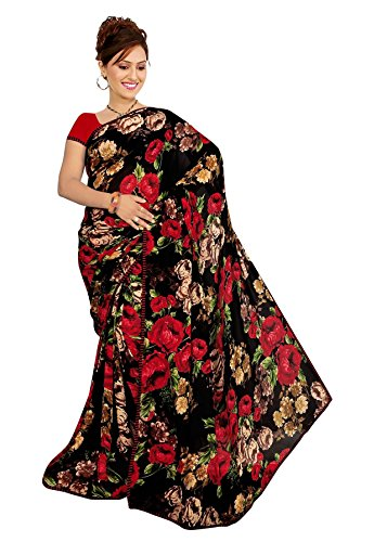 Women's Faux Georgette Floral Print Saree White/Black 6.30 m With Blouse Piece by Kalaa Varsha (Free Size, Black)