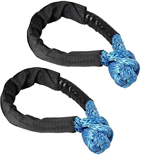 Toolly Synthetic Soft Rope Shackle 2 Pack 1//2/'/' x 22/'/' Flexible and Durable 38000LBS Breaking Strength Recovery Connect Black Rope Lift Towing with Protective Sleeve