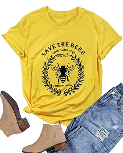 Women Save The Bees T Shirt Short Sleeve O Neck Save The Humanity Shirt Bee Graphic Vintage Tees Top Size S (Yellow)