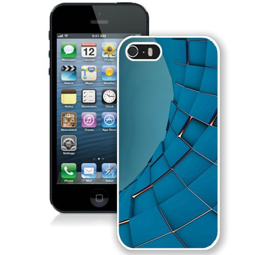 Coque,Fashion Coque iphone 5S 3D Squares Abstract Render blanc Screen Cover Case Cover Fashion and Hot Sale Design