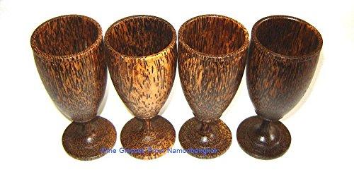 Set 4 Handmade Wooden Wine Glass Glasses (Palm Wood) - - Goblets Wooden