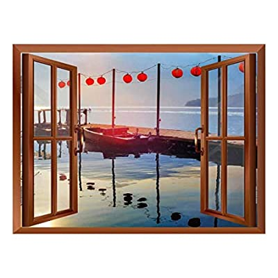 Quality Creation, Amazing Print, Copper Window Looking Out Into a Bridge on a Lake with Boats on The Side Wall Mural