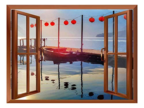 Copper Window Looking Out Into a Bridge on a Lake with Boats on The Side Wall Mural