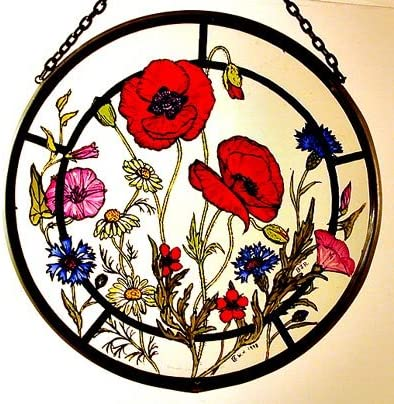 Decorative Hand Painted Stained Glass Window Sun Catcher Roundel in a Cornfield Flowers Design.