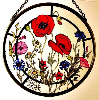 Decorative Hand Painted Stained Glass Window Sun Catcher/Roundel in a Cornfield Flowers Design. Cornflowersround