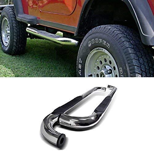 Span 3-inch Round Stainless Steel Side Step Rails Nerf Bar Running BoardsFit 1997-2006 Jeep Wrangler TJ 2 Door