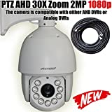 VENTECH PROFESSIONAL PTZ Camera AHD/Analog Security Camera 30X Zoom 2MP 1080P(1920X1080) 9 Array Leds Night Vision RS-485 6inch Pan Tilt Zoom Surveillance Camera