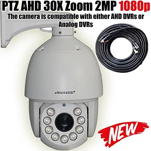 VENTECH PROFESSIONAL PTZ Camera AHD/Analog Security Camera 30X Zoom 2MP 1080P(1920X1080) 9 Array Leds Night Vision RS-485 6inch Pan Tilt Zoom Surveillance Camera by VENTECH