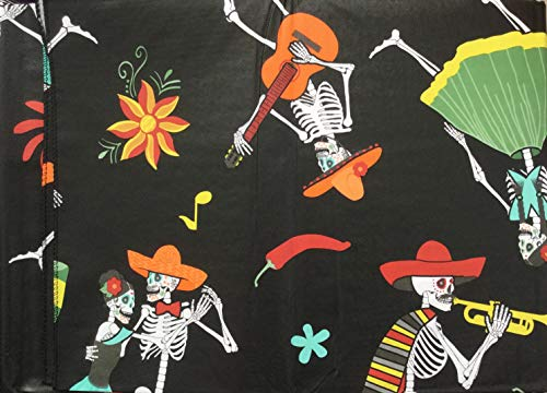 "Kemp & Beatley Halloween Skeleton Dance Party PEVA Vinyl Tablecloth, 60"" x 84"" for Use On Oval or Oblong Tables by Kemp & Beatley"