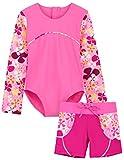 Tuga Girls 1-PC Swimsuit & Swim Short Set (UPF 50+), Misty Pink, 11/12 yrs