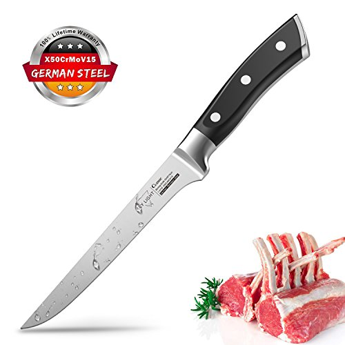 Boning knife 6 Inch Flexible Fillet Knife High Carbon German Stainless Steel Kitchen Knife with Full Tang Design