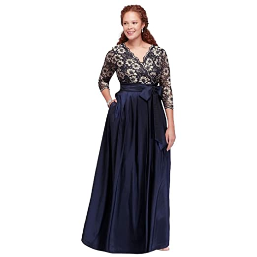 Plus Size Floral Lace And Shantung Ball Mother Of Bride Groom Gown
