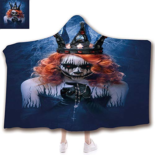 Fashion Blanket Ancient China Decorations Blanket Wearable Hooded Blanket,Unisex Swaddle Blankets for Babies Newborn by,Art Halloween Evil Face Bizarre Make Up Zombie,Adult Style Children -