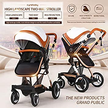 Bassinet Baby Stroller Reversible All Terrain – Cynebaby Vista City Select Strollers for Infant Toddler Pram Pushchair add Net Cover Mellow Coffee