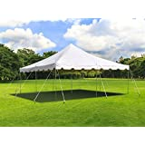 20' Foot x 20' Foot Weekender Standard Pole Tent - Heavy Duty White 14 Ounce Vinyl Canopy Top - Complete Frame/Top Set with S