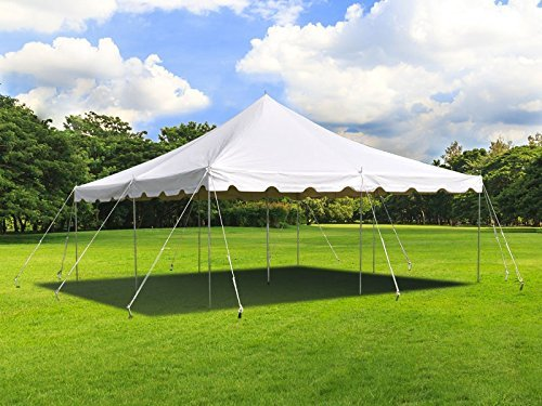 20 ft by 20 ft White Canopy Pole Tent, Complete Set with Storage Bag, Heavy Duty 14 oz Vinyl