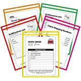 C-Line Neon Stitched Shop Ticket Holders, Assorted Neon Colors, 9 x 12 Inches, 10 per Pack (43920)