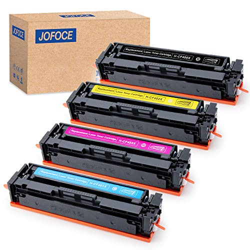 Jofoce 4-Pack Replacement for HP 201X 201A CF400X CF401X (1BK, 1C, 1M, 1Y), Compatible with HP Color Laserjet Pro MFP M277dw M252dw M277 M277n M277c6 M252 M252n M274n Printer ()