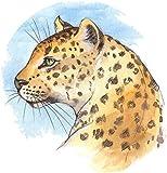 Artistic Wild Jaguar Pencil Illustration Icon Vinyl Decal Sticker (12'' Tall)