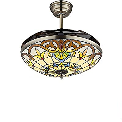 COLORLED Colorful Acrylic Blade Craftmade Ceiling Fan Light-42 Inch Ceiling Fans Chandelier with LED-for Indoor,Outdoor,Bedroom,Living and Dining Room