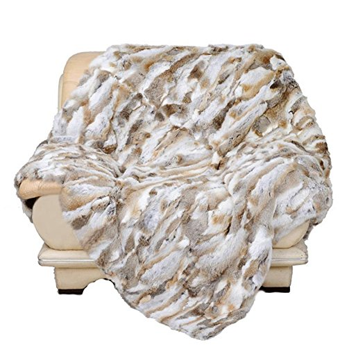 Manka Vesa Real Rabbit Fur Blanket Rug Bed Real Fur Good Buy Hot Carpet Tache (63inches X 55inches, Natural - Rabbit Throw