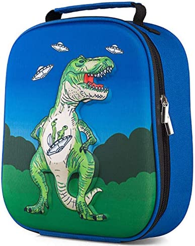 ZIPOUTE Insulated Lunch Box for Kids, Reusable Cute Portable 3D Lunch Bag Tote for Boys Girls to Pack Cold Hot Foods for School Daycare Outdoor Picnic, Fits Bento Box, Dinosaur, Blue