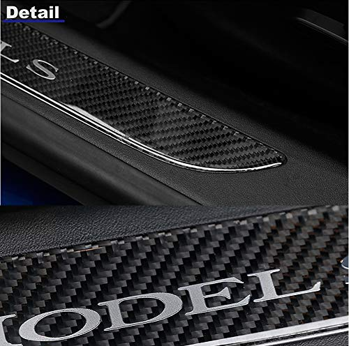 TopDall Car Door Sill Protection Cover Anti-Scratch Real Carbon Fiber Stickers with Polyurethane for Tesla Model S 2 Pieces