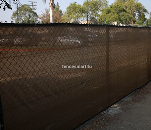 6' X 50' Dark Brown UV Rated 85% Blockage Fence Privacy Screen Windscreen Shade Cover Fabric Mesh Tarp W/Grommets (145gsm)