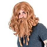 Adult Deluxe Viking Wig and Beard Costume Accessory Set (Brown)