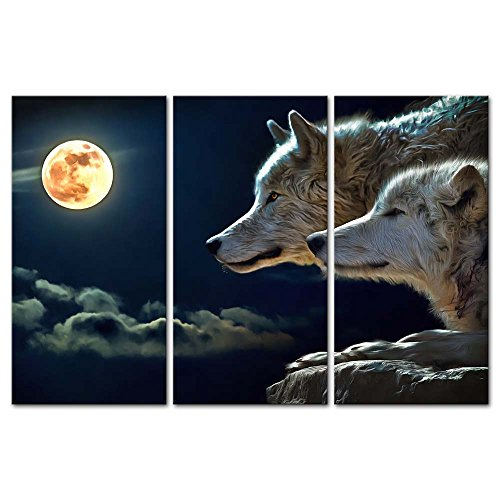 Wolf Moon Pictures (3 Pieces Modern Canvas Painting Wall Art The Picture For Home Decoration Wolf In White And Golden Fur At Full Moon Night Animal Print On Canvas Giclee Artwork For Wall Decor)