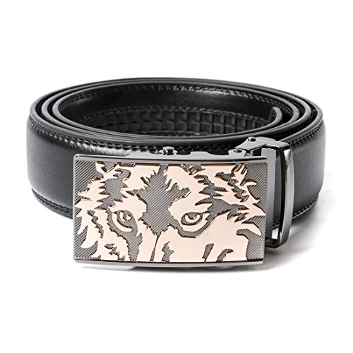VanPeng Men's Ratchet Genuine Leather Belt with Wolf Automatic Buckle 35mm Wide (style 2, waist:34-36)