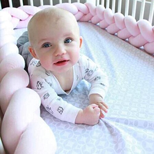- Crib Bumper, Transer Cotton Rattan Baby Infant Creeping Guardrail Bed Safety Rail Protector (Length: 78.7 Inch, Pink)