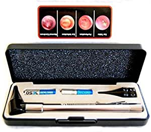 Dr Mom Slimline Stainless LED Otoscope in HARD CASE by Doctor Mom