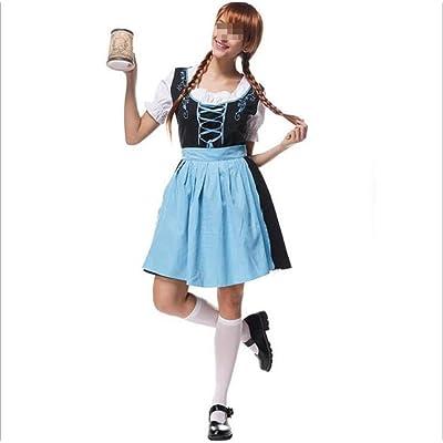 Karoun Oktoberfest Beer Festival October Dirndl lencería Sexy Maid Vestido Delantal Blusa Vestido alemán Wench 6XL Disfraz Adulto Vestido Elegante, as Show, XXL: Ropa y accesorios