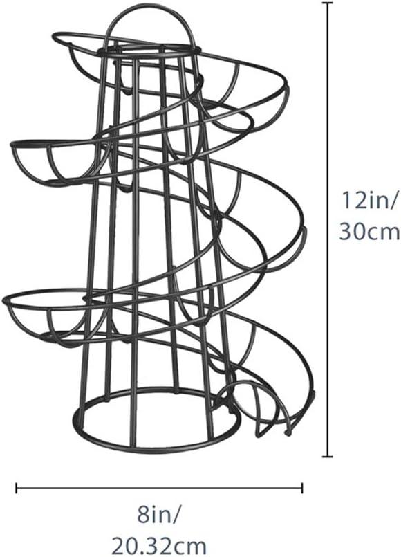 Spiralspender Naroano Eierspender platzsparend f/ür die K/üche Silber K/üchenarbeitsplatten-Organizer Aufbewahrungsregal