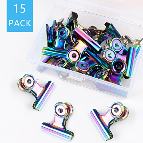 - Jiulyning 15 Pcs Colorful Push Pins Clips Creative Paper Clips with Pins for Cork Board- Bulletin Boards and Photo Walls Great Alternative